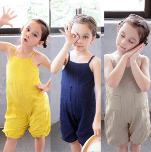 Kids Baby Clothes Solid Toddler Girl Strap Rompers Boy Pockets Sling Jumpsuit Sport Casual Summer Kids Clothing 3 Colors DW5305