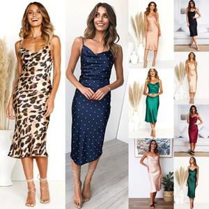 Verano de las mujeres Sling vestidos sólido Impreso baja de la espalda en el pecho abrigo Vestido tubo señora Designer Vestido ajustado vestidos 07
