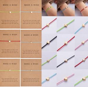 Pide un deseo de oro Estrellas del corazón de la pulsera de la joyería hecha a mano multicolor cuerda ajustable cuerda pulsera suerte para los niños de las mujeres GD159