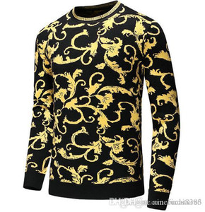 2019 neue Herbst-Mode-Marke beiläufige Strickjacke O-Ansatz kühlen Wolf Gestreiftes Slim Fit Knitting Männer Pullover und Pullover Männer Pullover Männer D13