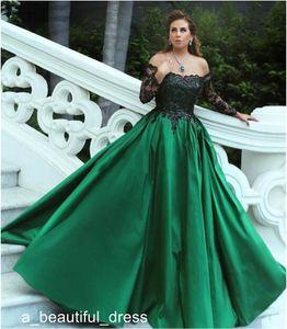 Off-Omuz Kadınlar Balo Quinceanera Modelleri Hunter Yeşil ile Siyah Aplikler ışıldamaya Abiye Uzun Kollu Balo Elbise ED1115