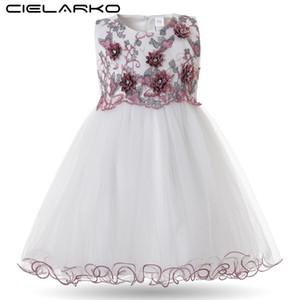 Cielarko Kleinkind-Mädchen-Kleid-elegante Prinzessin Birthday Baby-Ballkleid 2018 Blumenmädchenkleider Stickerei Infant Pageant Frocks S200107