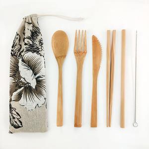 Wiederverwendbare Bambusholz Besteck Set Bambus Bestecke Umweltfreundlich Reisen Besteck aus Holz Natürlicher Baumwolle Geschirr Großhandel