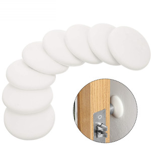 Door Knob Wall Shield , White Round Soft Rubber Wall Protector Self Adhesive Door Handle Bumper (White)