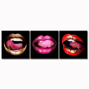 Modern Fashion Sexy Lips Canvas Wall Art Decor Colorful Women Lip Pictures Artwork White Valentine's Day Makeup Room Bedroom Decorations