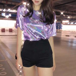 Женщина Summer Tops Блестящая Сыпучие Короткие рукава PurpleT футболку Sexy Club Эстетические женщин Стильный Яркий шелковый Tshirts XXS-XL