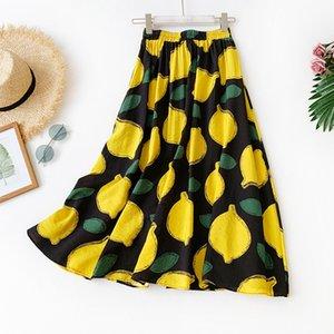 2019 Pequeña impresión fresca Fondo largo Falda de medio cuerpo Algodón Will Pendulum Falda Limón Una falda de una línea