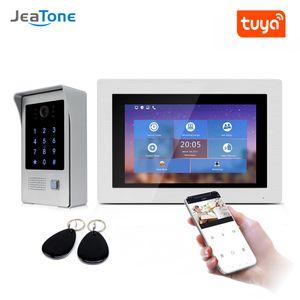 "JeaTone 7 "" WIFI IP Video Door Intercom Wireless Door Bell Speaker Access Control System Touch Screen Motion Detect Remote unlock"