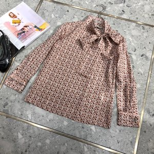 FF 100% seda 2020 Summer Collection alta calidad de lujo marca italiana de Milán diseñador del monograma del arco de la camisa de cuello