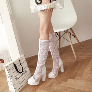 Glittery2019 Popular2019 Super Wind Coarse With Sandals Donna Sexy High Canister Ventilation Mesh Boots Codice 43