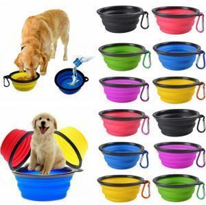 볼 여행 개 고양이 접이식 팝업 컴팩트 여행 실리콘 접시 피더 식품 용기 식품 용기 100PCS OOA6206 먹이 접을 수있는 애완 동물