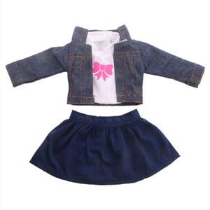 Doll Clothes 10 estilos T-shirt + Saia / Calças Vestido Roupas Pajames Para 18 polegadas American Girl nosso presente de Natal Generation