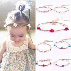 7pcs vendas del pelo de la cinta de colores nuevo bebé venda de la flor DIY accesorios hechos a mano del pelo de Headwear de los niños recién nacidos del niño