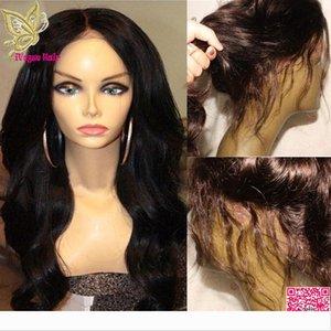 Объемная волна Полный парики шнурка с больше волос младенца бразильское человеческих волос фронта шнурка парики лучшее качество Волнистые полный парик шнурка человеческих волос