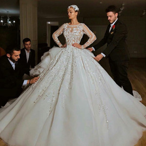 Fabulous Beaded Backless Ball Gown Princess Wedding Dresses Sheer Bateau Neck Long Sleeves Sequined Lace Bridal Gowns Tulle robes de mariée