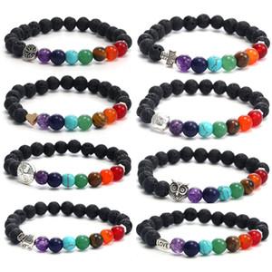 7 Pulseira de Chakra para Homens Mulheres 8mm Preto Laca Beads Elefante / Buda / Vida Árvore Ioga Cura Difusor de Óleo Essencial Bracelete-Z