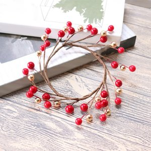 3Pcs Candle Rings For Pillars,Red And Gold, Small Wreaths For Christmas,Rustic Wedding Centerpiece Or Table Decoration Candle Holders