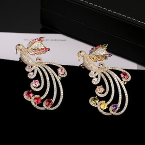Elegant Charming Wedding Corsage Jewelry For Women New Fashion Phoenix Bird Brooches Pins Gold Plated Brooch With CZ Stone Wholesale