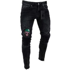Diseñador de la marca Jeans para hombres Slim Fit Ripped Hi Street Hip Hop para hombre pantalones de mezclilla negro Agujeros de la rodilla Washed Pencil Jeans G3P2