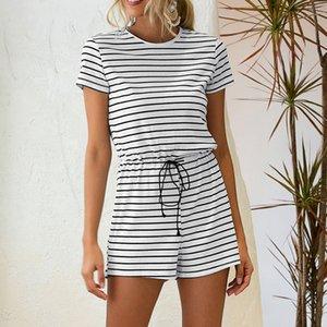 Femmes Shorts Tenues du Romper 2020 Été manches courtes rayé O-Neck One Piece Casual Combinaions mode Homewear