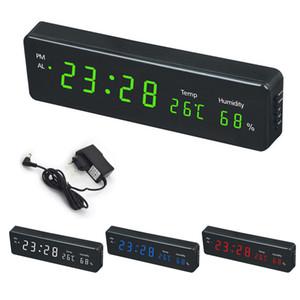 Reloj de pared digital de Big Time LED Humedad Temperatura del calendario de exhibición del escritorio del reloj de la tabla electrónica relojes de pared LED de la decoración de enchufe de la UE