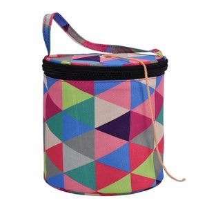Knitting Yarn Storage Bag Case Yarn Drum Women's Crochet Hook Thread Pouch Round Periwinkle Knitting Crochet Tote Bag