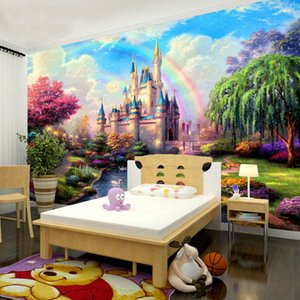 Bacaz Rainbow Castal Scenery Large Papel Mural 8d / 3D Wallpaper murale per camera dei bambini 3d Wall paper 8d Photo Mural 3d Wallcoverings