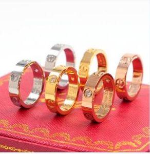 nuovoCartier ampia versione del classico del chiodo del diamante anello di titanio uomini e le donne d'acciaio anello in oro rosa 18 Anello in oro con scatola originale