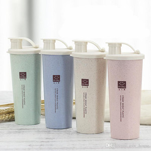 450ml Wheat Straw Water Bottle BPA Cup Sports Fitness Protein Milk Shake Bottle Outdoor Travel Milkshake Keep Fit Bottles