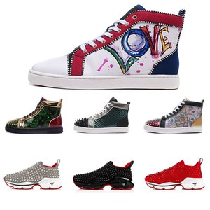 TÊNIS homens mulheres Chaussures cravejado de Spike Sneakers Triplo Preto Vermelho Branco Couro camurça vermelha bottoms calçados casuais 36-47 vindima
