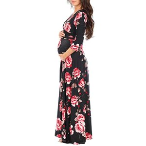 ENXI Maternity Clothing Soft Dress Clothes For Pregnant Women Maternity Dresses Long Dresses Pregnancy Women's