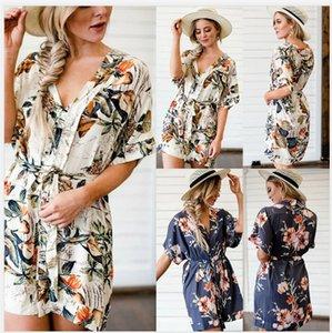 2020 Fashion Summer Women Dresses with Printed New Arrival Women Deep V-Neck Shirt Dresses Designer Women Clothing Size S-XL