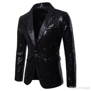 Único botão Mens Blazer Festa Moda Painéis Skinny Mens Club Coats V Sequins Pescoço