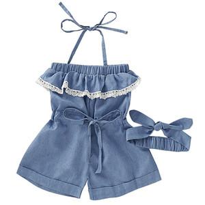 Bebek Denim Tulumlar Kız Dantel Sapan Onesies Katı Renkler Bow Baş bandı 1-6T 060.615 ile Bebek Romper Bebek Kız Elastik Jeans