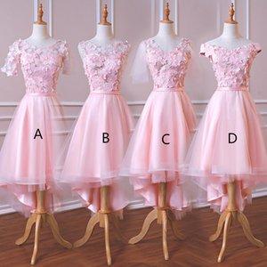 Высокая Низкая Бальные платья с мелкими цветками 2020 Pink невесты платья для свадьбы Свадебные да damigella