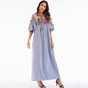 Casual Ethinc Embroidery Abaya Full Dress Skirt Muslim Long Robe Gowns Kimono Ramadan Middle East Arab Islamic Prayer Clothing