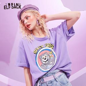ELFSACK Harajuku gelado Cor engraçado de gráfico Casual Mulheres T-shirt 2020 Verão ELF Oversize coreano Ladies diário T básico