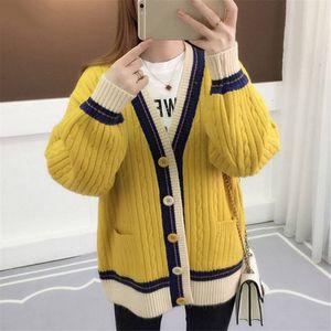 Designer Pullover Pullover Frauen-Strickjacke Strickjacke Kontrast Farbe Strickmantel Langarm Jacke Korean Causal Plus Size Strickjacken 36412