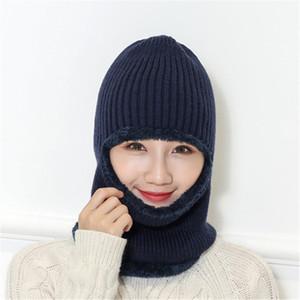 Men Women Knitted Wool Hat 3 Style Multi Colors Autumn Winter Windproof Dust-proof Plus Velvet Soft Elastic Double Layer Warm Hat DH0534 T03