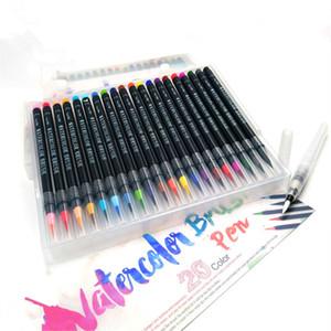 20 Farbe Aquarell Marker Pen Premium-Soft-Bürsten-Feder-Set Malbücher Manga Comic Kalligraphie Art Marker T200416
