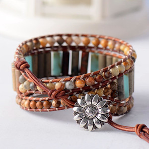 Boho Bracelet Unique Tube Shape Natural Stone 3 Layers Leather Wrap Bracelets Bohemian Women Statement Bracelet Dropshipping Y200807