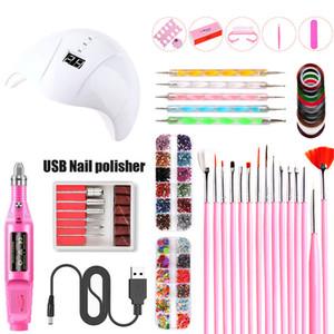 Nail inteligente lámpara eléctrica uñas Taladro USB Pen con 15pcs Nail Art Kits Accesorios Cepillos