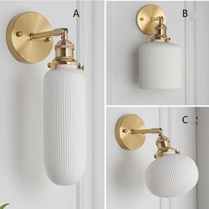Porcelana blanca llevó la lámpara de pared retro Nordic Brass dormitorio de noche pasillo Wandlamp translúcidos Cerámica de baño accesorio de la pared Luz