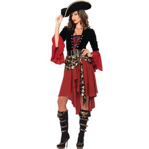 2019 5шт Caribbean Pirate костюмы Необычные Carnival Performance Sexy взрослых Хеллоуин костюм платье партии Капитан Женщины Cosplay