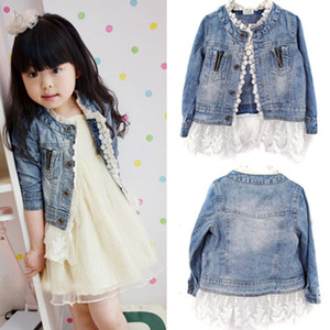 Children Girls Jeans Outerwears Jacket Kids Lace Coat Long Sleeve Button Denim Jackets For Girls 2-7Y Spring Autumn Fashion