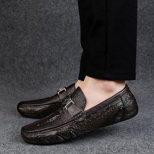Крокодиловой кожи Loafer обувь мужчин из натуральной кожи нескользкую на мокасины Handmade Man Повседневный Drive Walk Luxury Leisure