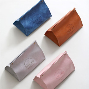 INS Leather Tissue Box Pink Leather Napkin Holder Creative Soft Tissue Container Home Desktop Table Decoration
