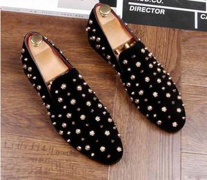 2019 Новая мода золото Топ и металла Toe Мужчины бархатное платье обувь Итальянская мужская модельная обувь ручной работы бездельников