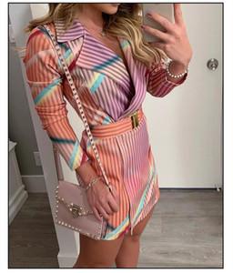 Tasarımcı Blazers Elbiseler Bayanlar Derin V Yaka Elbise Casual Kadın Çizgili Baskılı Elbise Womens