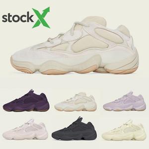 Douce Vision 500 Pierre Os Blanc Chaussures de course des femmes des hommes de Super Yellow Moon Utility Noir fard à joues Kanye West Sel Designer sport Chaussures de sport